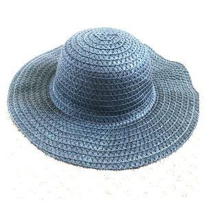 🆕👒 Wide Brim Woven Sun Hat Blue